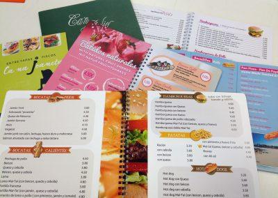 Diseño de cartas restaurante Menorca